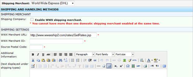 World Wide Express (DHL) Shipping Merchant