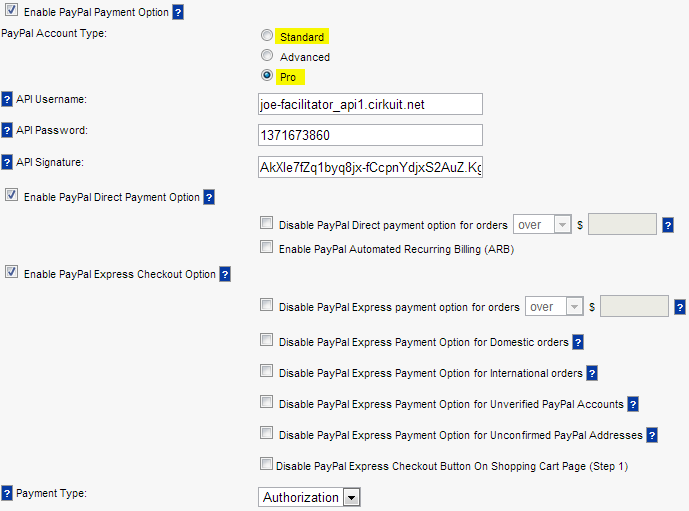 Configure PayPal Standard or PayPal Pro