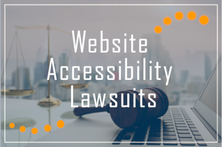 image of city in distant background with legal scale on left and laptop on right and a gavel in the middle on laying on the keyboard. text reads: website accessibility lawsuits